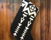 Pendleton wool stocking, modern stocking, black and white stocking, stocking
