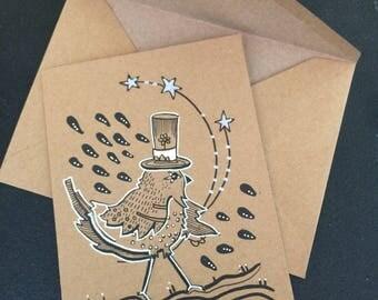 Le messager **illustration piece unique *** sur carte papier kraft