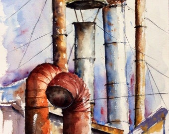 "Original watercolor - Free shipping ""Chimneys in huddle"" (landscape jail sky rust purple blue roof)"