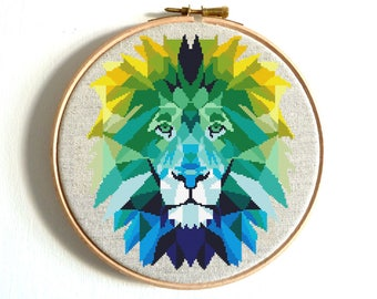 Lion cross stitch pattern PDF Modern embroidery Colorful Geometric Animal cross stitch Easy Modern cross stitch Rainbow counted cross stitch