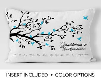 Gift from Great Grandchildren - Family Tree Pillow -  great grandparent present - Great Grandma  birthday - Great Grandmother Gifts