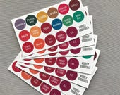 Essential Oils Bottle Top Labels, Young Living
