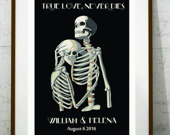 Custom wedding gift, Skeleton wedding gift, Skeleton couple, Personalized wedding gift, Day of the Dead