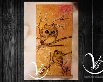 HEY HO, pyrography, owl, engraving, painting, small