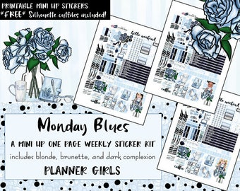 Monday Blues MINI Happy Planner weekly kit / MINI Happy Planner printable stickers /Digital Printable Planner Stickers/ Silhouette Cut Files
