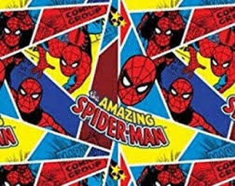 """Spiderman crackle FLANNEL fabric, By the Half Yard, 42"""" wide, cotton"""