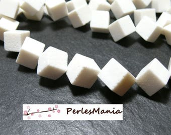 2 large 12mm white SPONGE coral diagonal CUBE beads