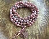 My Self Love   108 Mala Beads   Rhodochrosite   Mala Necklace
