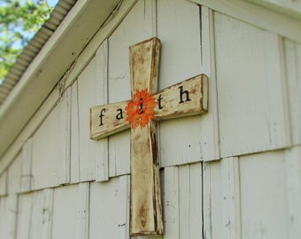 "Large Rustic Cross ""FAITH"""