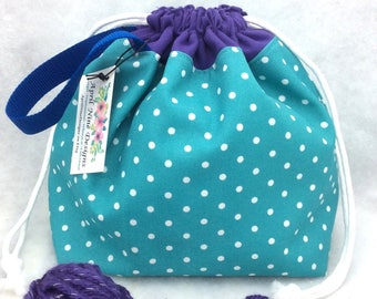 Knitting Project Bag, Knitting Tote, Crochet Project Bag, Drawstring Bag, Utility Bag, WIP bag, Sock Bag