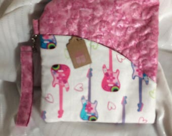Large Tulip Bag, Handmade by me! One off, Clutch Bag, Wrist Strap, Pink Glitter and Guitar Fabric Contrast.