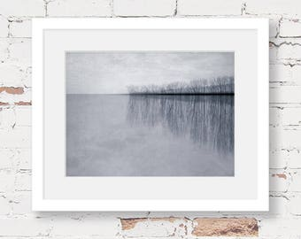 lake landscape art print, monochrome art, grey minimal landscape, grey abstract landscape, moody landscape, minimal photography print