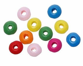 100 flat wooden beads