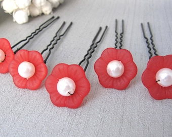 Red and white hair with flowers 5 PCs v1 pins