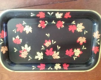 Vintage Metal Snack Tray Dresser Tray  1950's Small Luncheon Tray Black with Red and White Leaves