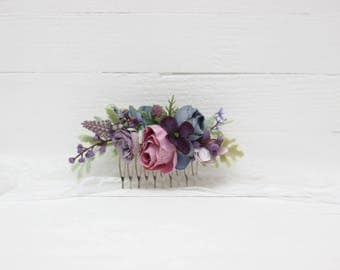 Lilac blue flower comb Bridal hair piece Floral accessories Bridesmaid headpiece Flower girl  Woodland Outdoor Floral comb Hair flowers