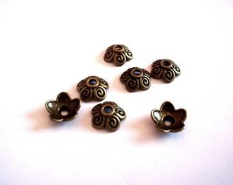 set of 6 bronze 10 mm x 4 mm metal bead caps