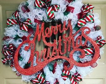 Merry Christmas Wreath, Holiday Wreath, Deco Mesh Wreath, Holiday Decor, Outdoor Wreath, Porch Wreath, Christmas Decor, Front Door Wreath