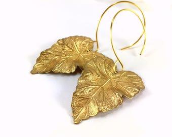 Gold Leaf Earrings Large Leaf Earrings Dangle Drop Leaf Statement Earrings Leaf Jewelry Woodland Botanical Jewelry Bridesmaid Gift Boho