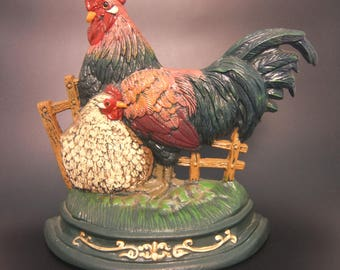 """Cast Iron Rooster and Hen Door Stop, Hand Painted, 12"""" H x 13"""" W"""
