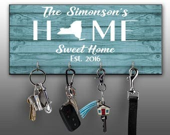 Personalized Key Ring Holder, Family Key Holder, Home Key Rack, Home Sweet Home, Custom Key Hanger, Housewarming Gift, Wall Mount Key Holder