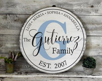 """24"""" Round Rustic White Washed Painted Wood Sign"""