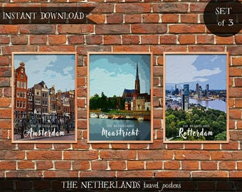 The Netherlands Travel Posters, Set of 3 Instant download Digital prints