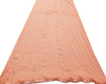 Free Shipping Salmon Dupatta Chiffon Long Stole Veil Stole Women Hijab Beaded Trim Lace Sarong S18