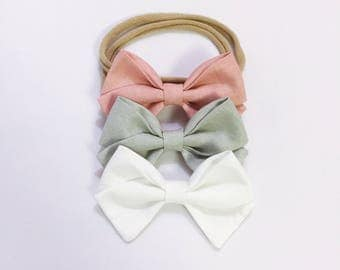 Newborn/baby/toddler girl classic trio bow headband set newborn kids hairbow accessories