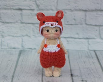 Stuffed fox Crochet toy angel doll girl christmas gifts collectible ooak Knit animals Handmade doll plush Soft Toddler softy Amigurumi