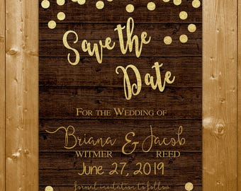 Rustic Wood and Gold Save the Date Card, Wood Wedding Save the Date, Save the Date Printable Card, Rustic Wood Gold Save the Date Card