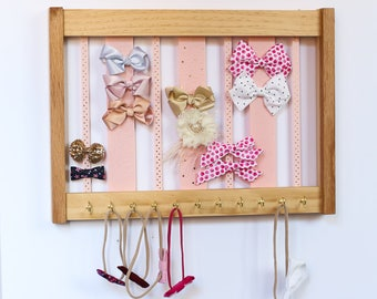 Large Wood Bow Organizer & Headband Holder / Oak Pine Wood Frame Hooks / Large Organizer Handmade / High Quality / Nursery Girls Room Decor