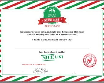 Christmas Eve Nice List certificate xmas eve box