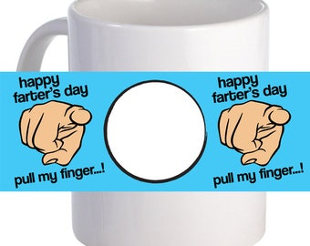 "Personalized ""Pull My Finger!"" Coffee Mug With Custom Printed Image"
