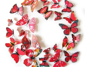 "12 ""Red"" magnetic wall decor 3D butterflies"