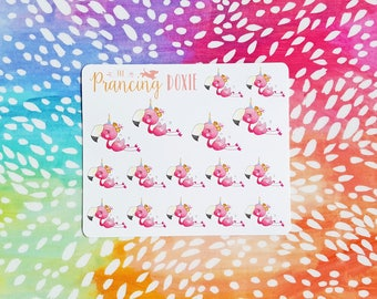 Flamingo: Unicorn! }} decor .. Planner Stickers . ECLP . Vertical Erin Condren LifePlanner™ . Mini Sheet . Summer . Tropical