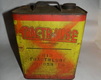 Trac-Tr-Lube Oil Can - Vintage 2 Gallon Hydraulic Oil Can - Collectible Advertising Oil Can - Tin Litho - Tractor Hydraulic Lubrication 28-D