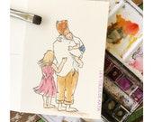 Illustration aquarellle format carte postale papa et ses enfants ideale pour la   Fête des peres