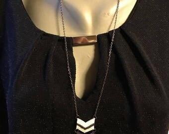 Black and white miyuki beads fashion necklace