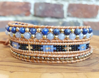 Wrap bracelet 3 x wrap Brown light blue and Gold US