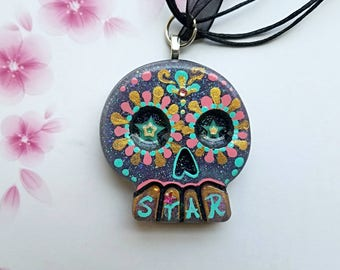 Rock Star Day of the Dead Sugar Skull Necklace Pendant