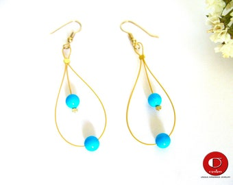 Turquoise Earrings, Dainty Earrings, Delicate Blue Turquoise Earrings, Gold Earrings.