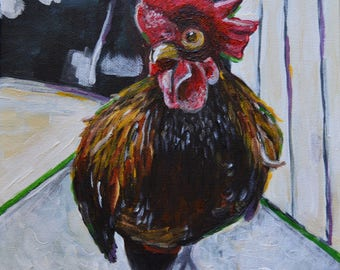 """ORIGINAL Acrylic Painting """"Rooster"""""""
