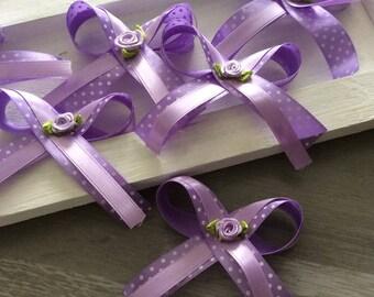 6 flower applique purple satin bow has polka dots