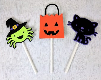 Halloween Cupcake Toppers, Witch Cupcake Toppers, Halloween Decor, Pumpkin Cupcake Toppers, Black Cat Cupcake Toppers