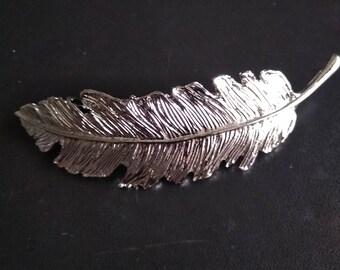 Silver feather Barrettes