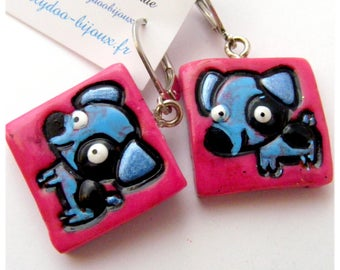 Earrings kind of Designer [Fido] - pink and blue
