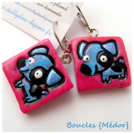 Earrings # polymer # gift unique # dog Fido # pink and blue # dollydoo # earrings # birthday gift kids