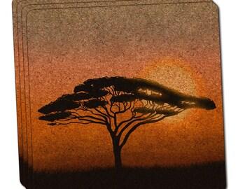 African Plains Thin Cork Coaster Set Of 4