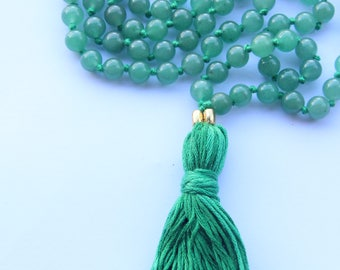 Knotted Long 108 Green Aventurine Mala necklace with Green Cotton Tassel
